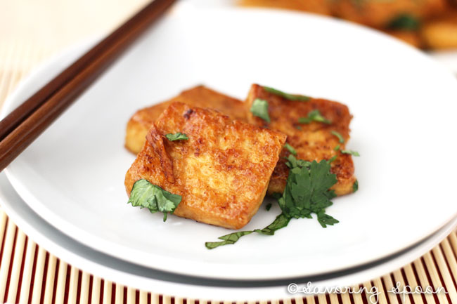 fried tofu spicy lemon sauce with crispy pan fried tofu then fry them ...