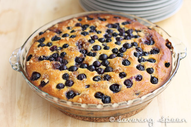 Moist Blueberry Skillet Cake-savoringspoon.com