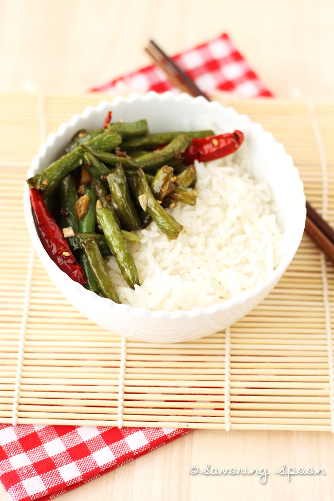 Szechuan string beans in bowl