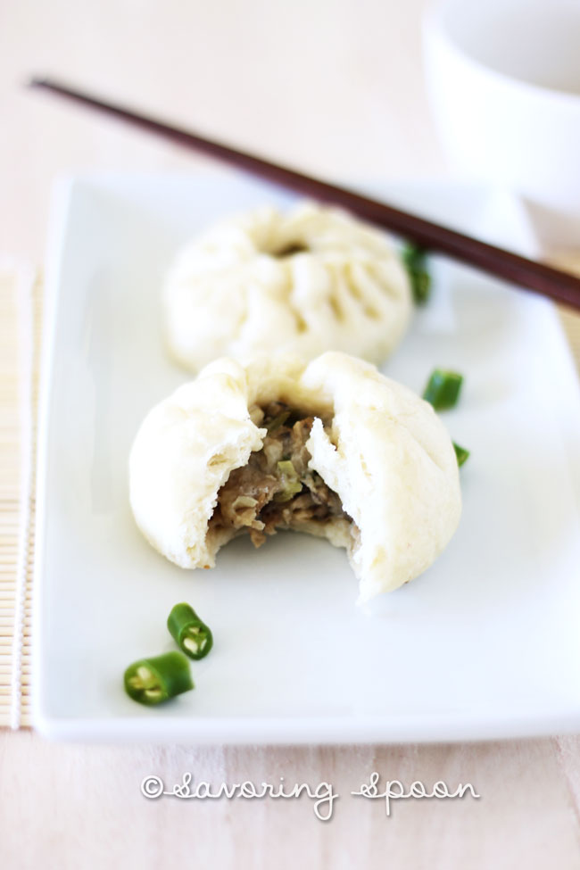 Homemade steamed pork buns | www.savoringspoon.com