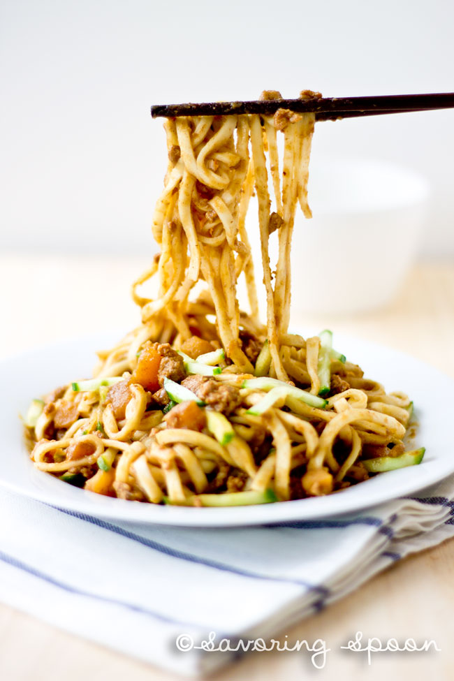 Beijing Fried Sauce Noodles - Zhajiangmian - saucy, delicious 20minute one pot meal! | www.savoringspoon.com