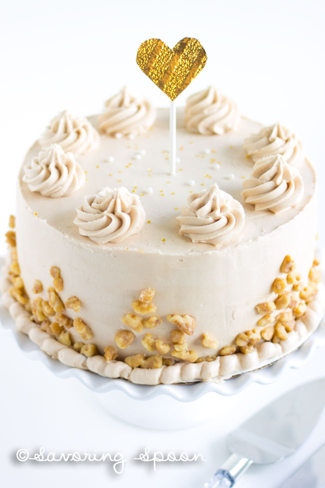 Maple walnut cake with chocolate ganache