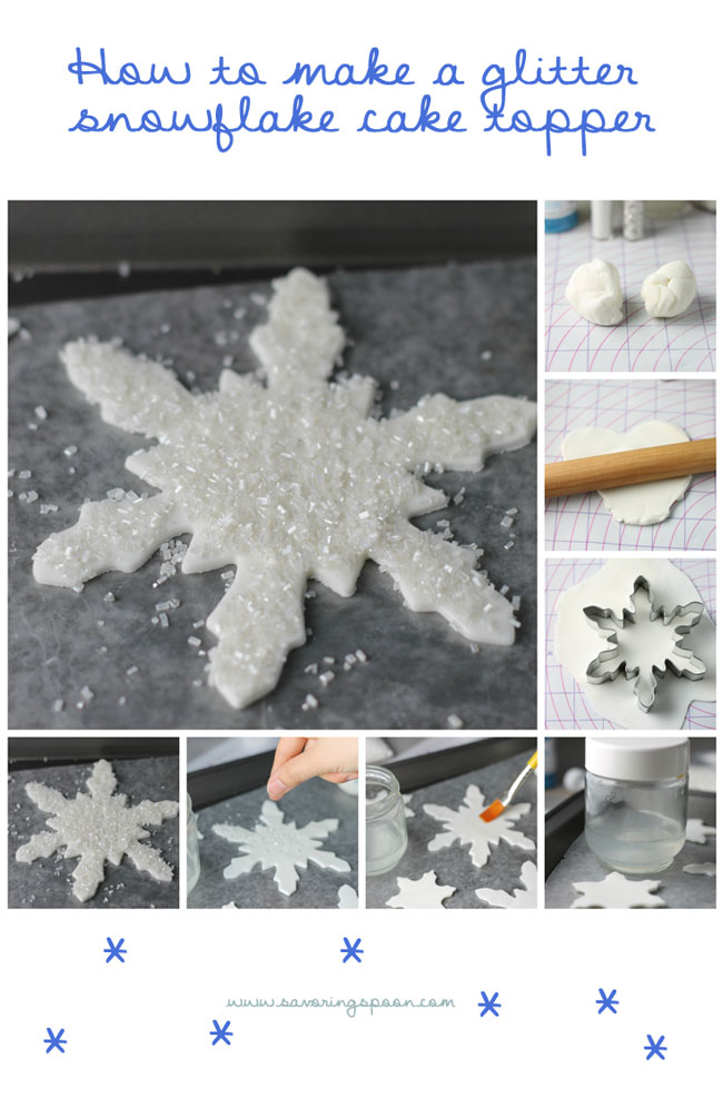 Easy Step-by-Step tutorial for making sparkly snowflake cake toppers
