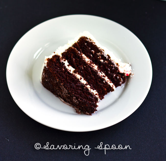 peppermint red velvet cake slice