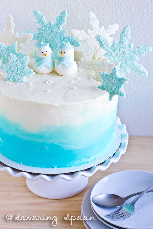 Winter Wonderland Ombre Cake Savoring Spoon Savoring Spoon