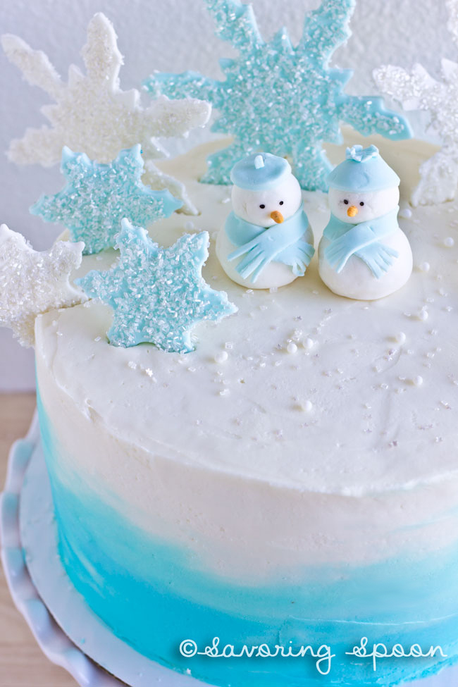 winter wonderland ombre cake ~ www.savoringspoon.com