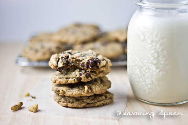 nutty sea salt chocolate chip cookies